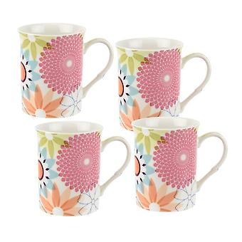 Portmeirion Crazy Daisy Set van 4 mokken, 12oz