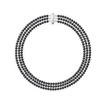 Halsband 3 Reihen von Perlen Süßwasser schwarz und Silber 925