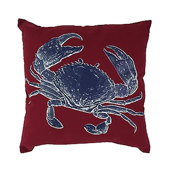 16 Inch Square Red Decorative Throw Pillow With Blue Crab Applique