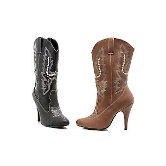 Ellie Shoes IS-E-418-Cowgirl 4 Heel Ankle Cowgirl Boot Black Sz 8