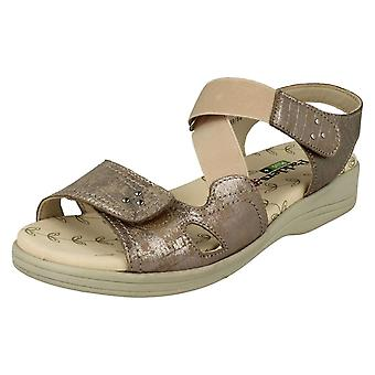 Ladies Padders Hook & Loop Fastening Sandals Cruise - Metallic Reptile Leather - UK Size 7 3E/4E - EU Size 41 - US Size 9