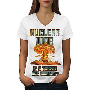Atomkrieg Frauen WhiteV-Neck T-shirt   Wellcoda