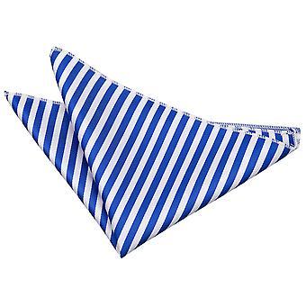 White & Royal Blue Thin Stripe zakdoek / Pocket Square