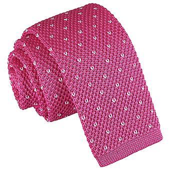 V Flecked rosa fúcsia Polka Dot de malha empate magro