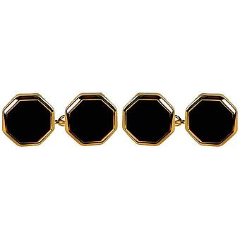 David Van Hagen Gold Plated Onyx Octacton Double Chain Cufflinks - Black/Gold