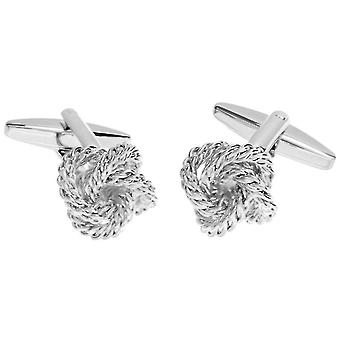 David Van Hagen Shiny Rope Knot Cufflinks - Silver