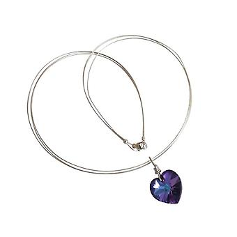 Heart Necklace blue violet purple JESY 925 Silver with Crystal heart Crystal heart