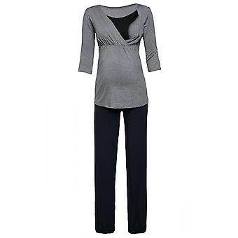 Happy Mama. Women's Maternity Top Nursing Breastfeeding Pyjamas Nightwear. 060p