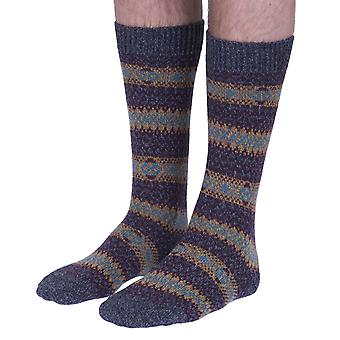 Felbrigg mens Fairisle wool boot sock in charcoal | English-made by Scott-Nichol