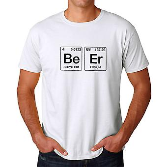 Funny Geek Periodic Table Beer Graphic Men's White T-shirt