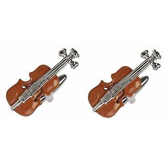 David Van Hagen Violine Manschettenknöpfe - Rot/Silber
