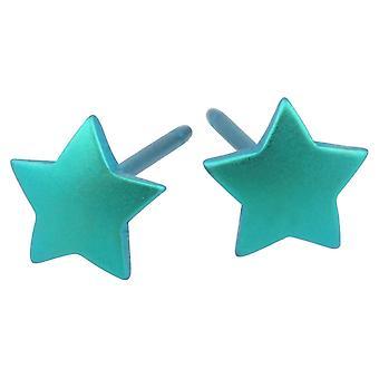 Ti2 Titanium Geometric Star Stud Earrings - Kingfisher Blue