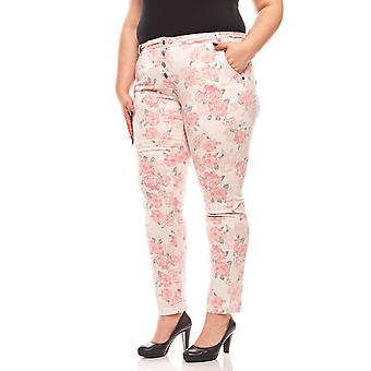 Rick cardona floral ladies print pants plus size pink