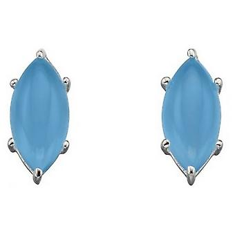Elements Silver Marquise Cab Earrings - Blue/Silver