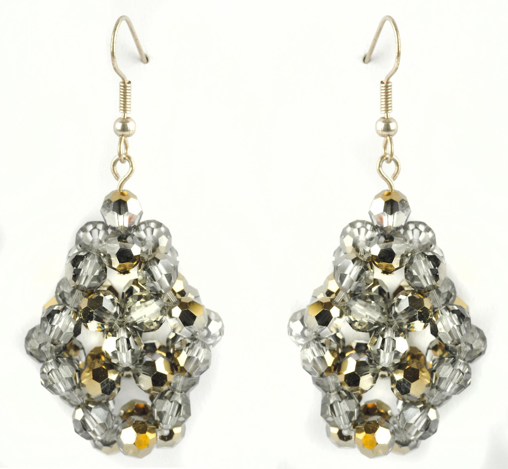 Waooh - Fashion Jewellery - WJ0740 - D'Oreille earrings with Swarovski Rhinestones Color Silver & Gold - Silver color Frame