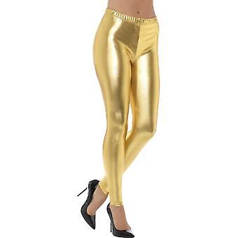 80er Jahre metallischen Disco Leggins, Gold