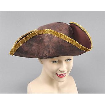 Tricorn Hat. Brown Distressed look.