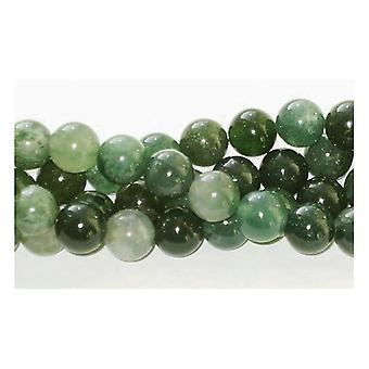 Strand 38+ Green Moss Agate 10mm Plain Round Beads GS1646-4