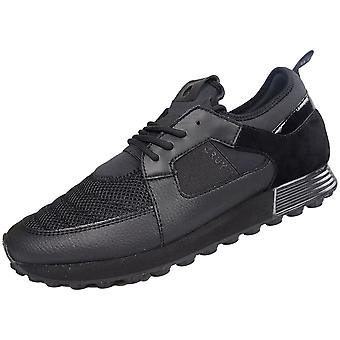 Cruyff Classics Traxx Lace Up Mesh Black Runner Trainer