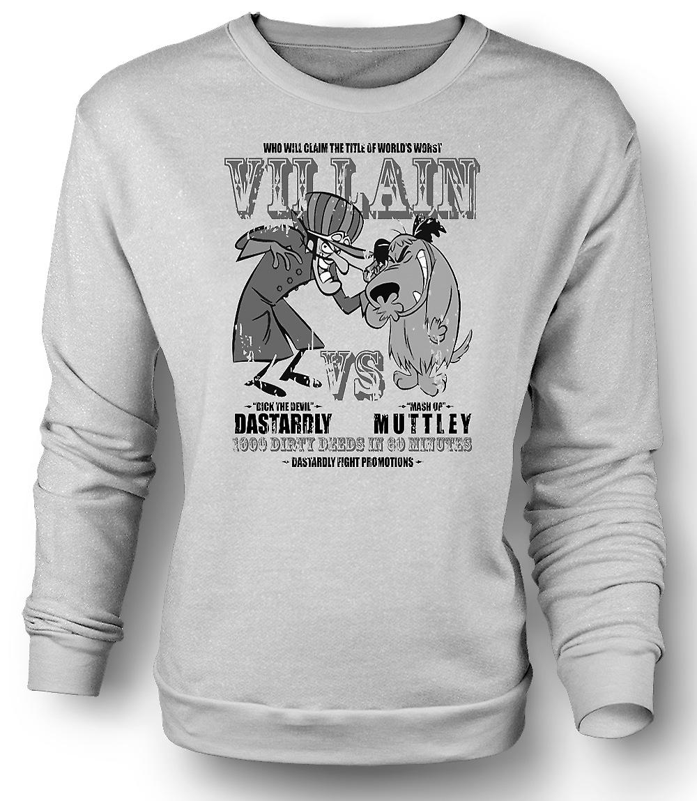 Mens Sweatshirt fega och Muttley - skurk - Funny
