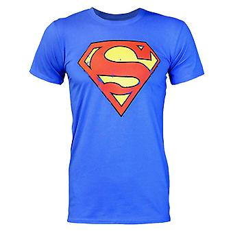 Superman Distressed Logo Men's T-Shirt Blue