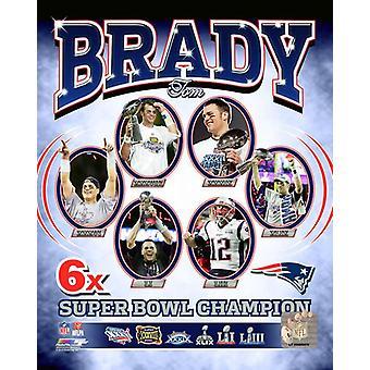 Tom Brady 6-tijd Super Bowl kampioen portret Plus foto afdrukken