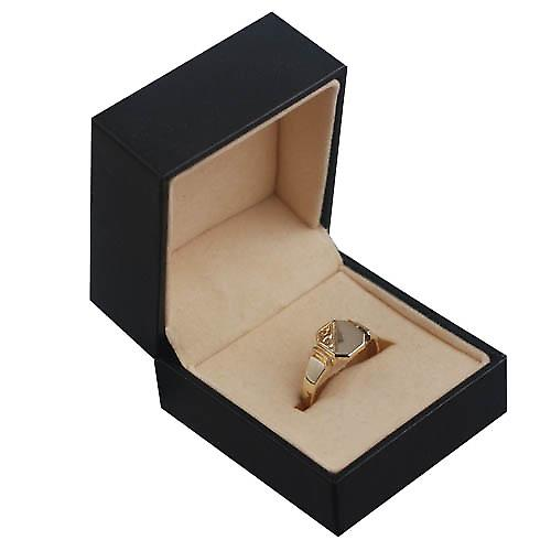 9ct Gold 7x8mm ladies engraved octagonal Signet ring