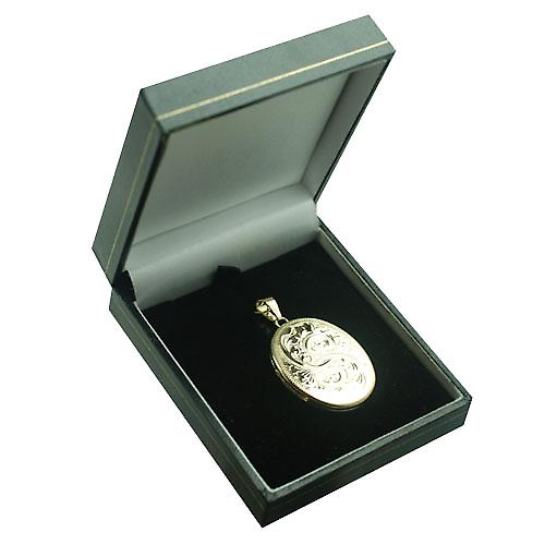 9ct Gold 35x26mm flat oval hand engraved Locket