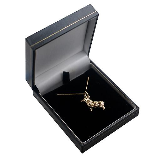 9ct Gold 20x22mm solid Corgi Dog Pendant with a curb Chain 16 inches Only Suitable for Children