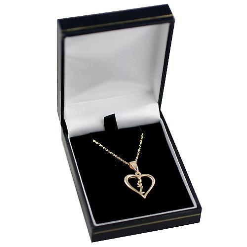 9ct Gold 18x18mm initial Z in a heart Pendant with a cable Chain 16 inches Only Suitable for Children
