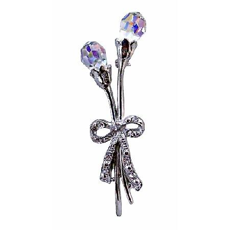 AB Czech Crystal Teardrop Tulips Long Stem Flower Silver Plated Brooch
