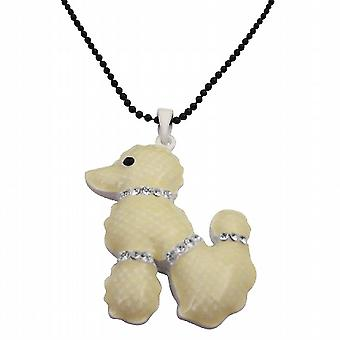 White Poodle Pendant Crystals On Neck Tail & Legs Black Long Necklace