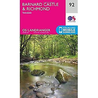 Barnard Castle & Richmond (OS Landranger Map)