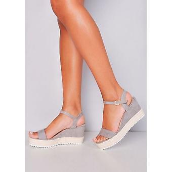 Plattform geflochten Kork Keil Schuhe Sandalen grau