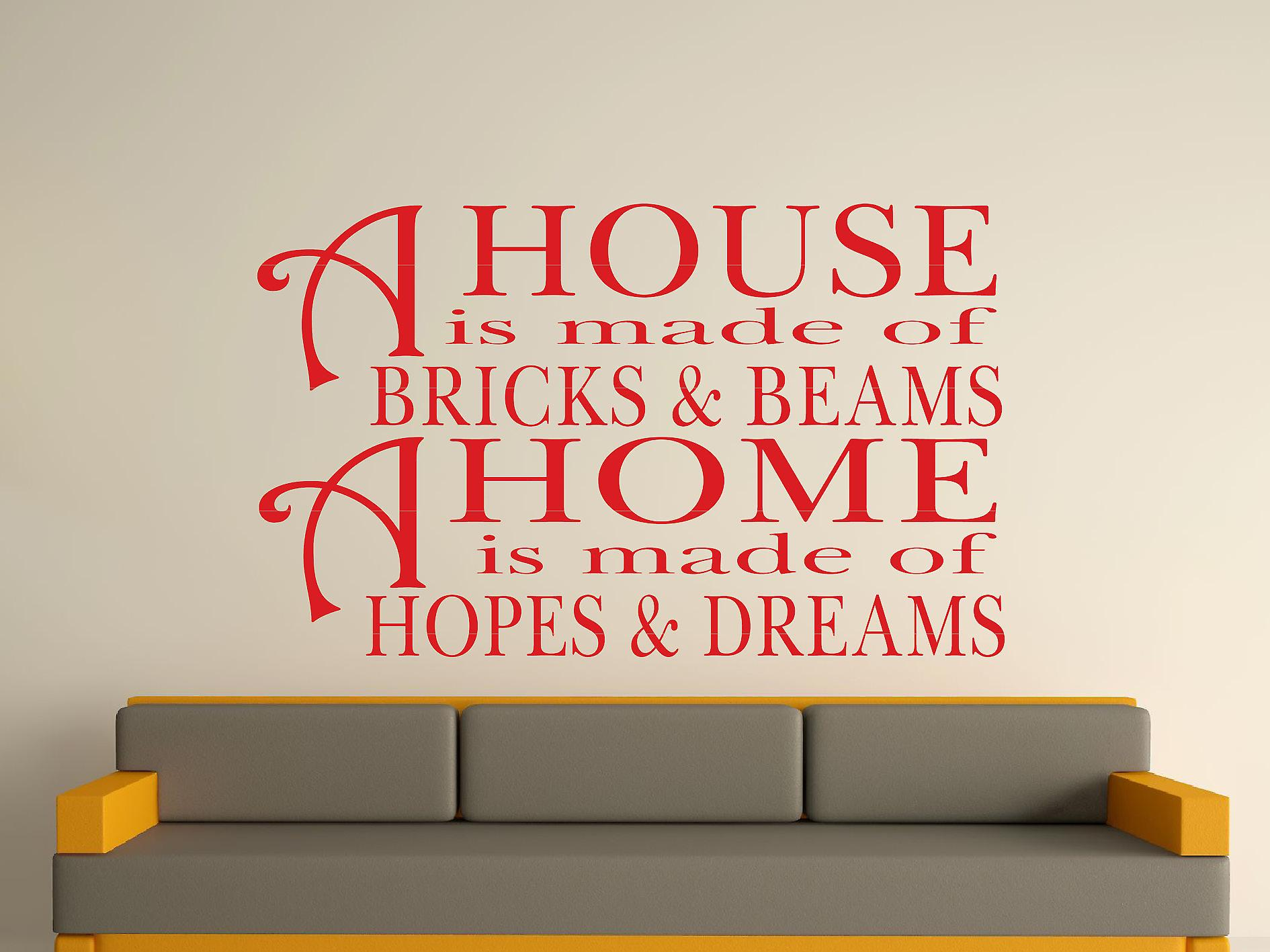A House Is Made Of Bricks And Beams v2 Wall Art Sticker - Cherry Red