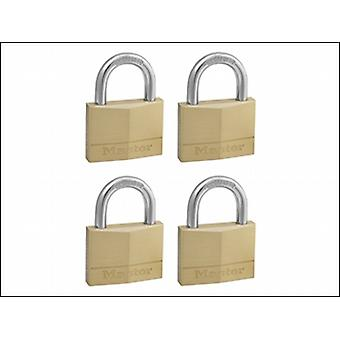 Master Lock Solid Brass 50mm Padlock 5 Pin - Keyed Alike X 4