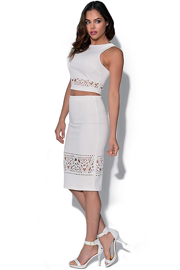 Ginger Fizz White Laser Cut Skirt