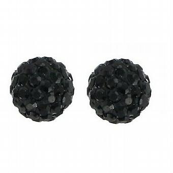The Olivia Collection Black Glass Set Disco Ball Stud Earrings
