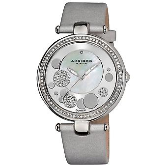 Akribos XXIV Women's AK434SL MOP Diamond Dial Leather Strap Watch