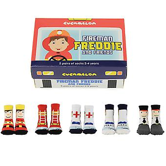 Cucamelon Fireman Freddie And Friends Socks Gift Set 2-4 Years