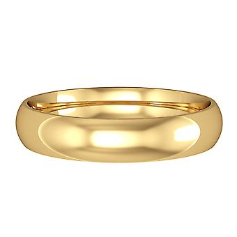 Jewelco London 18ct Yellow Gold - 4mm Essential Court-Shaped Band Commitment / Wedding Ring