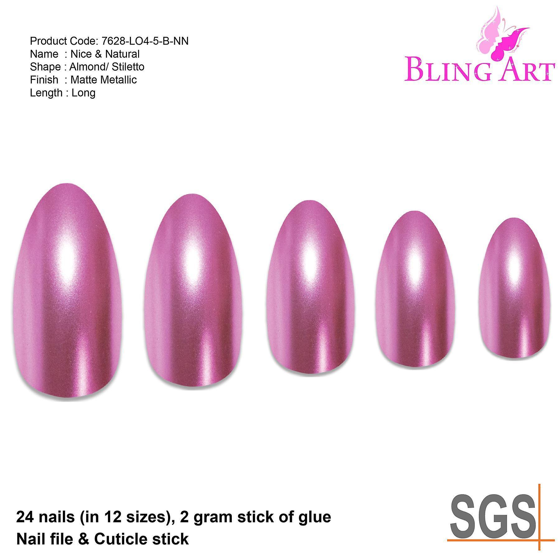 False nails by bling art pink matte metallic almond stiletto fake acrylic tips