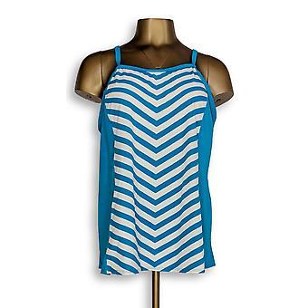Denim & Co. Swimwear Beach Stripe Tankini Top Swimsuit Blue A304228