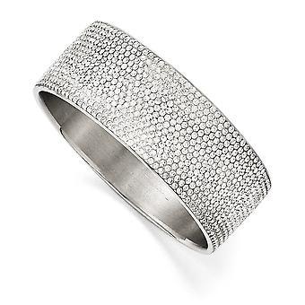 Edelstahl poliert, weißen Emaille mit breiten flachen Armreif Kristalle