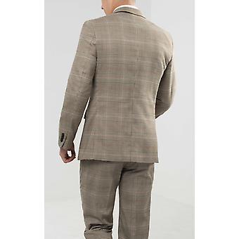 Dobell Mens Brown Check Suit Jacket Regular Fit