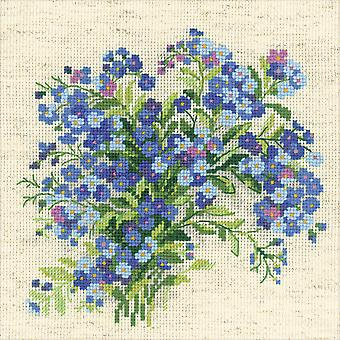 Vergeet Me Nots getelde Cross Stitch Kit-8
