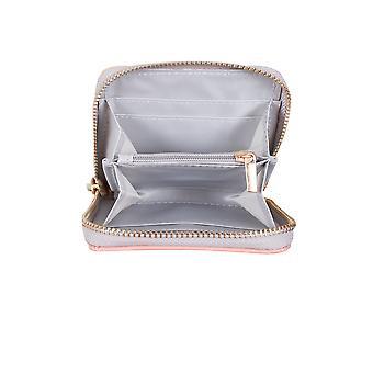 Pastel Pink PU Zip omkring pung med kvast