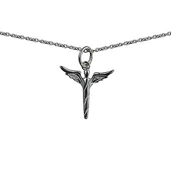 Silver 15x16mm Angel in flight Pendant with a rolo Chain 14 inches Only Suitable for Children