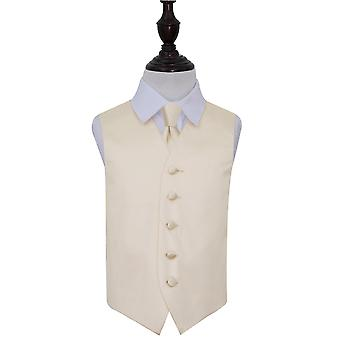 Boy's Champagne Plain Satin Wedding Waistcoat & Tie Set