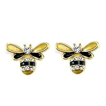 Clip On Earrings Store Swarovski Crystal and Gold Plated Small Bee Clip On Earrings